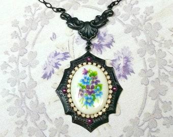 Black Brass Necklace, Purple Violets, Blue Flowers, Vintage Floral Pendant, Vintage Style Necklace, Victorian Necklace