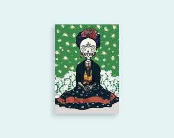 "Frida Kahlo 5x7 Illustrated Print - Dia De Los Muertos / Day of the Dead - ""Vogue Calavera"""