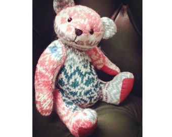 """Memory Bear Sewing Pattern and Instructions Booklet Download Pauly, Button Jointed with FREE tutorial video series - 29cm/11.4"""" when made"""