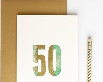 50th Birthday Letterpress Card