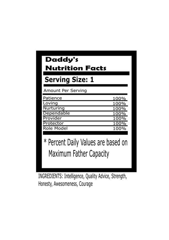 Items Similar To Daddy Nutritional Facts Fathers Day Image