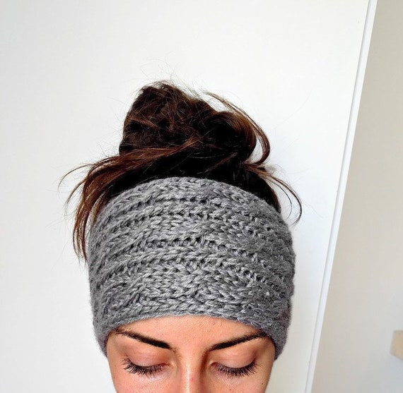 Hand Knit Wool Earwarmer Headband with Removable Button