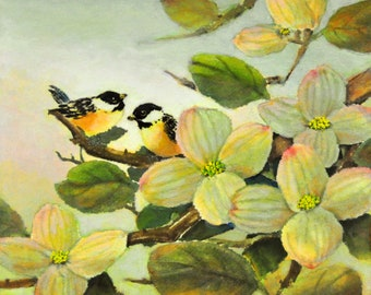 Chickadees with Pink Dogwood, by Eileen Fong