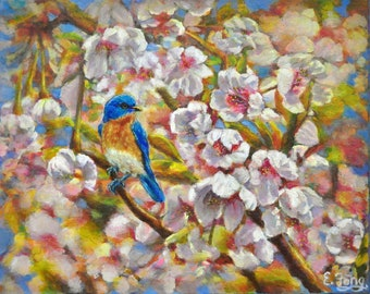 Blue Bird with Spring Blossoms