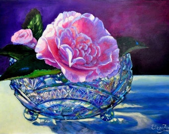 Camellia in Crystal Bowl