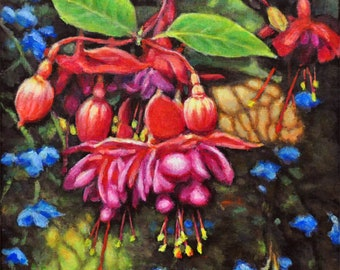 Fuchsia with Blue Bells