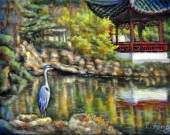 The Great Blue Heron at the Garden Pond