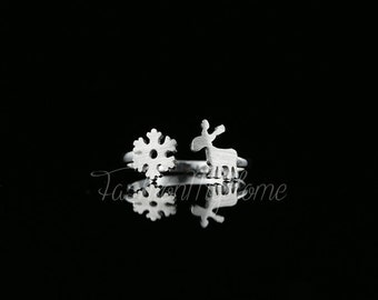 Reindeer And Snowflake Ring-925 Silver Ring-Adjustable Open Ring-Flower Ring for Women-Matching ring-Winter Jewelry-Love Token