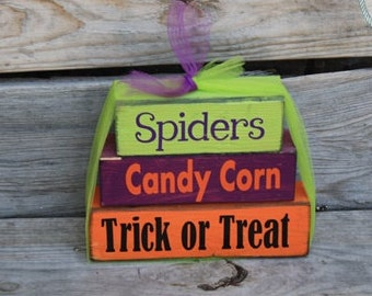 Spiders, Candy Corn, Trick or Treat: Halloween Stacking Blocks