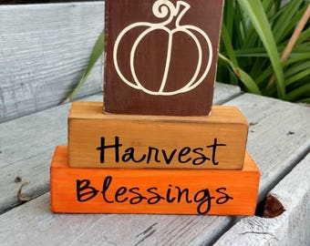 Harvest Blessings - Stacking Blocks- Fall Decor - Thanksgiving Decor