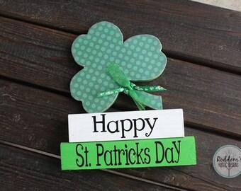 Happy St. Patrick's Day - Shamrock - St. Patricks Day Decor- Stacking Blocks