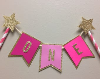 One Cake Topper, One cake banner, First birthday topper, Smash cake topper, first birthday cake topper, pink and Gold cake topper, girl