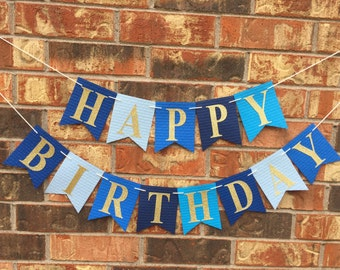 Blue birthday banner, Happy Birthday Banner, Personalized birthday banner, First Birthday banner, Blue Ombre Birthday banner, custom banner