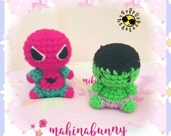 Cute Hulk plush, Spiderman plush, Crochet Hulk super hero plush, amigurumi Hulk doll, crochet doll, plush Spiderman amigurumi doll