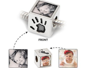 Photo Charm with Hand Prints - Personalised Pandora Charm | Personalised Jewellery ideal for Mothers