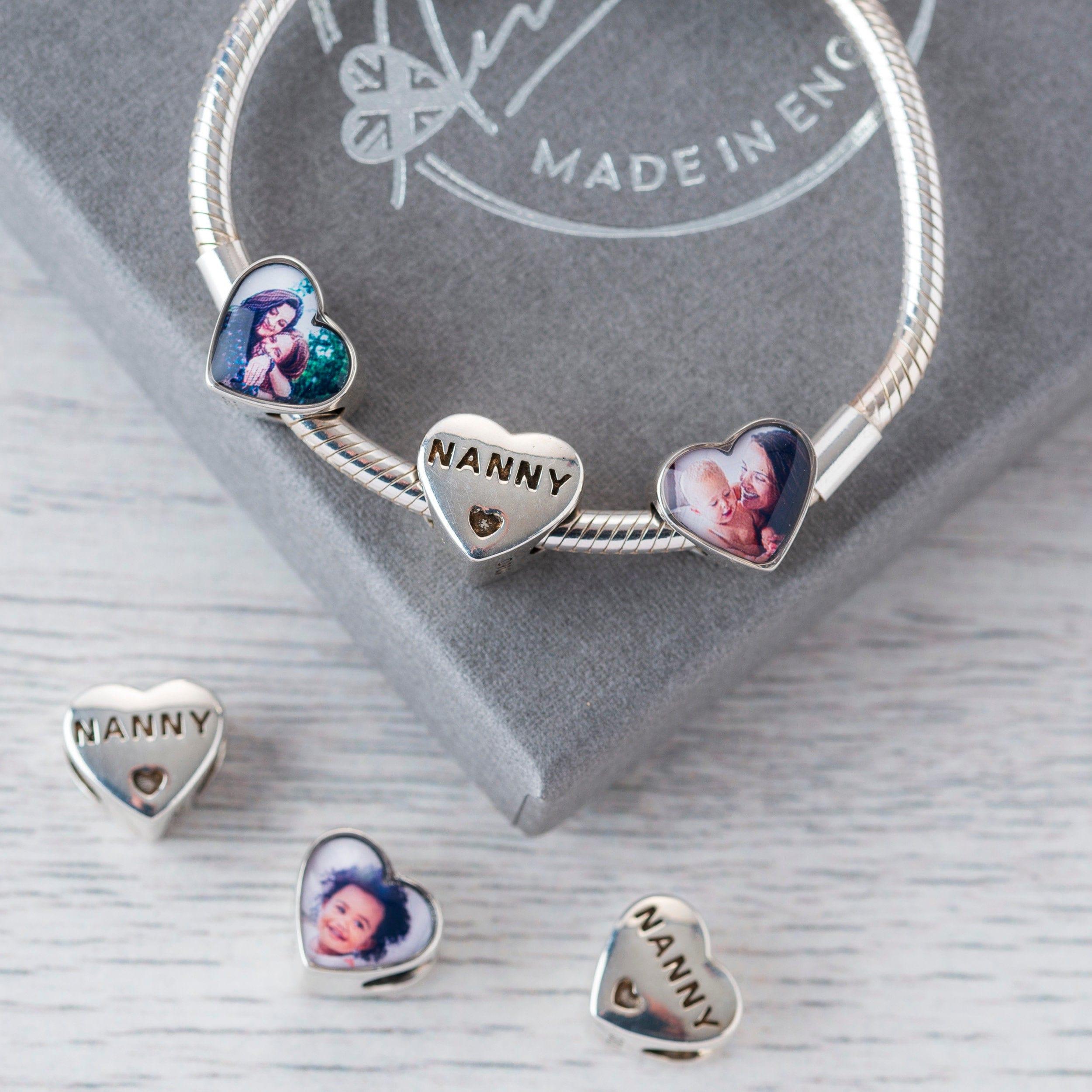 Personalized Pandora Charm Bracelet Compatible Nanny gift, New Grandma gift  Pandora Photo charms, Silver charms, UK shops Custom Charms