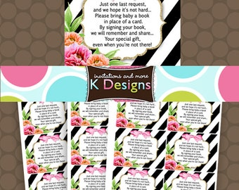 Peony Peonies Baby Shower Bring BOOK tickets cards inserts Gold Black Hot Pink - Printable Uprint Digital **INSTANT DOWNLOAD**