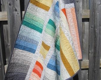 Modern quilt - custom quilt - patchwork quilt - handmade quilt - twin quilt - lap quilt - gender neutral quilt - rainbow quilt