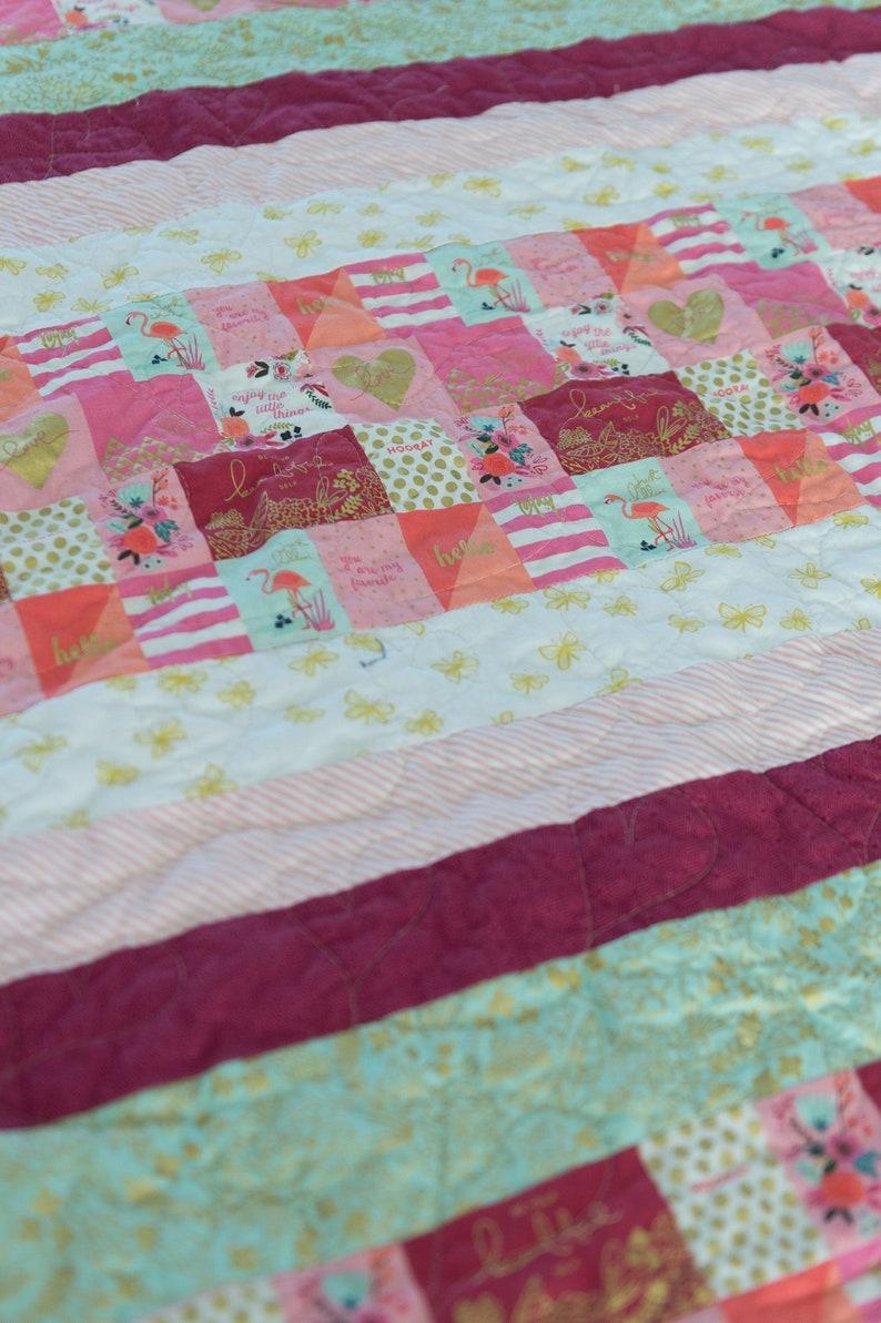 Flamingo quilt  patchwork quilt  baby girl quilt  modern image 0