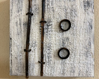 Encaustic with Bamboo - White e3