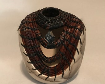 Horse Hair Vessel with Pine Needles
