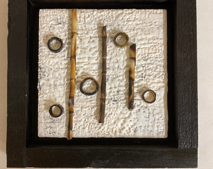 Encaustic with Bamboo - White e5 framed