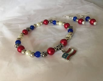 Patriotic Bracelet and Earring Set USA jewelry 4th of july jewelry handmade set
