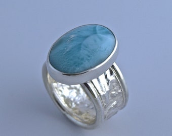 Banda reticulada plata con azul Larimar