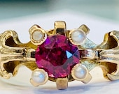 Antique Victorian Engagement Ring Georgian Ring with Rhodolite Garnet and Seed Pearls 14k yellow Gold
