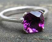 Garnet Engagement Ring Bishop Garnet Ring 1.87 Carat Purple Garnet Ring cushion cut Purple Garnet 14k White Gold