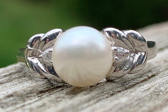 Pearl Ring Vintage Pearl Engagement Ring Pearl Eng