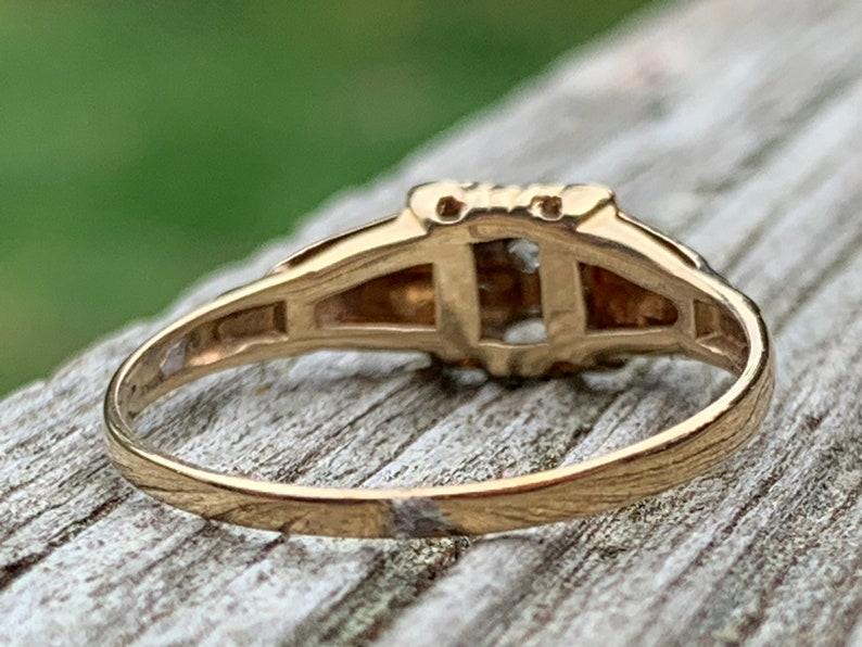 Vintage Art Deco Diamond Engagement Ring Art Deco Ring 10k white gold yellow gold