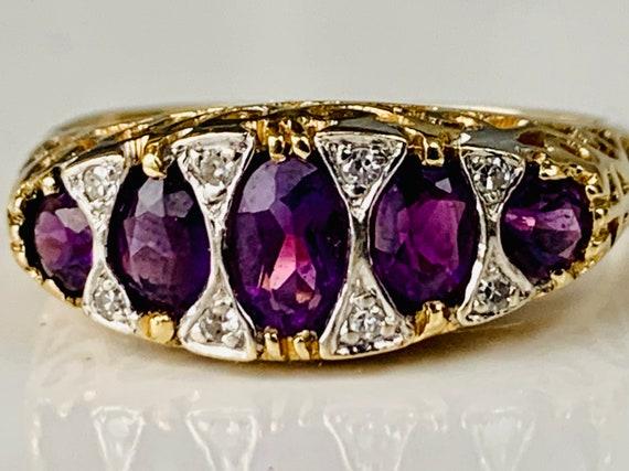 Amethyst Ring vintage Amethyst Engagement Ring 0.7