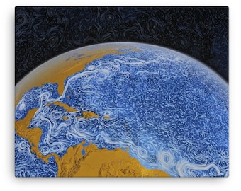 Space Wall Art - Perpetual Ocean - NASA Poster and Canvas Print - Ocean Current Van Gogh Wall Art - Starry Night and Ocean Currents