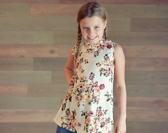 Girl's Flared Top - Girl's Floral Top, Vintage Floral Top, Girl's Summer Top, Spring Top