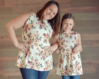 Mom and Me Flared Floral Top - Women's Flared Top, Teen Flared Top, Girls Flared Top, Baby Flared Top