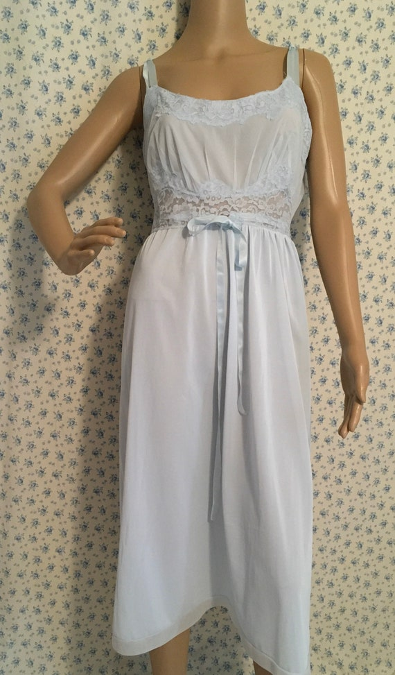 Vintage 1950s Aristocraft Nightgown, NOS Pale Blue