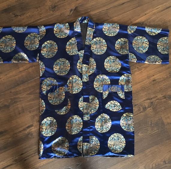 Vintage Kimono, Reversible Oriental Robe, Chinese