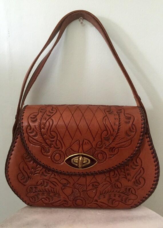 1960s/1970s Leather Hand Tooled/Purse/Handbag/Hipp
