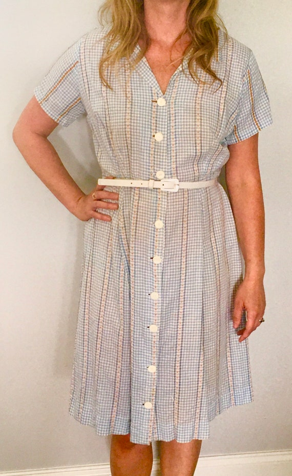 Vintage 1950s Shirtdress, Vintage Cotton Housedres