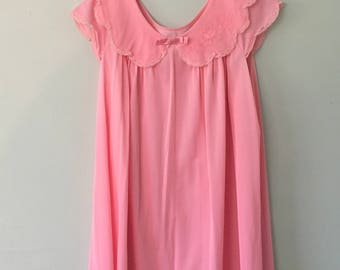 1960s Pink Gown/Babydoll/Chiffon Nightgown/Mod/Nightie/Lingerie   ~SALE~