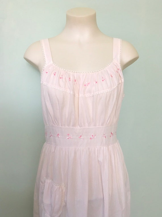 Vintage 1950s Nightgown, Pink Nightgown, Sleeveles