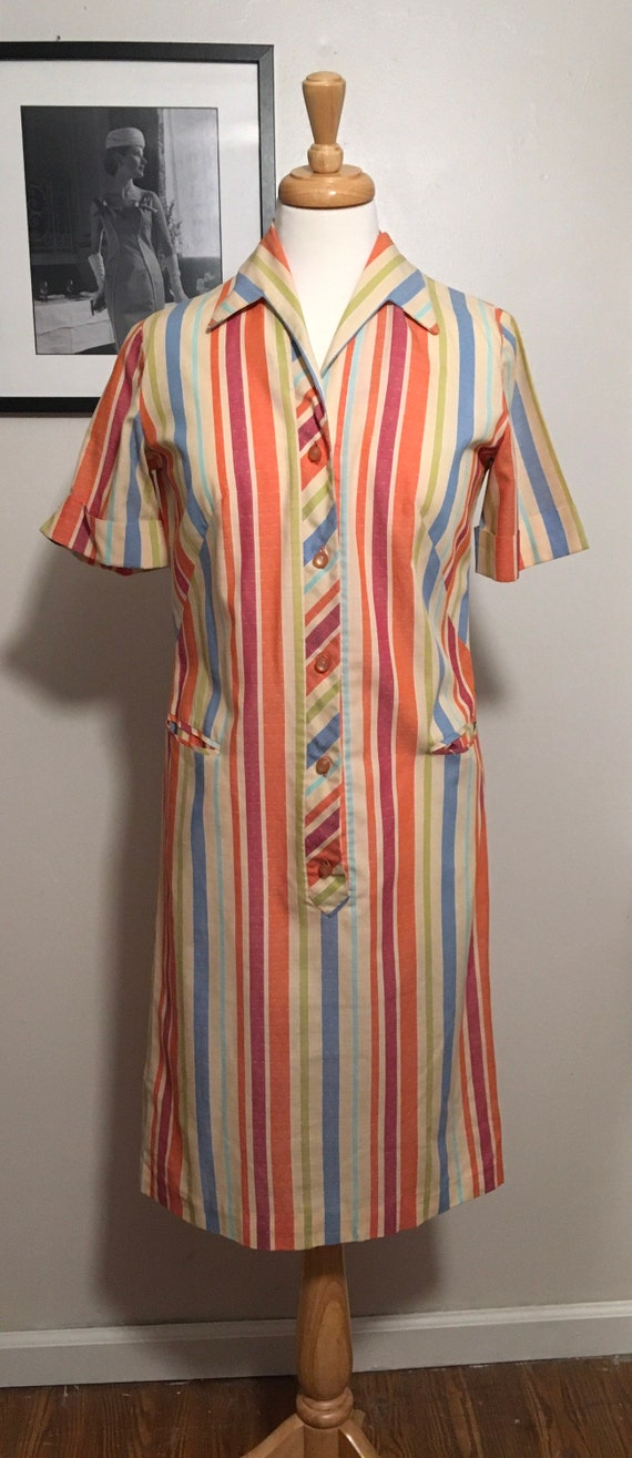 Vintage Nelly Don Shirt Dress, 1960s Striped Day D