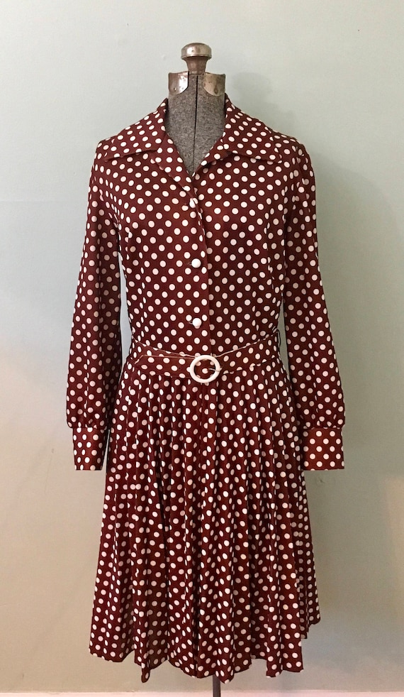 Vintage Brown and Cream Dotted Dress/Stoner Square