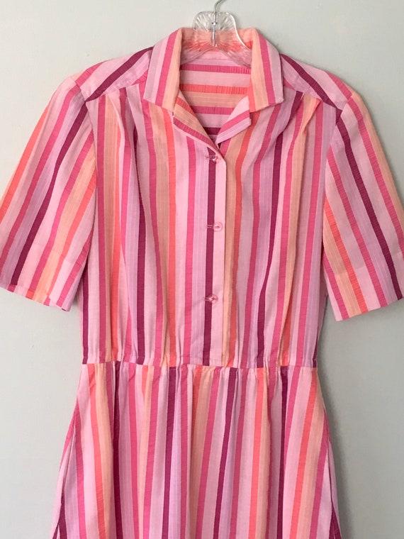 Vintage Ladies Shirtdress, Vintage Dress, Seersuck