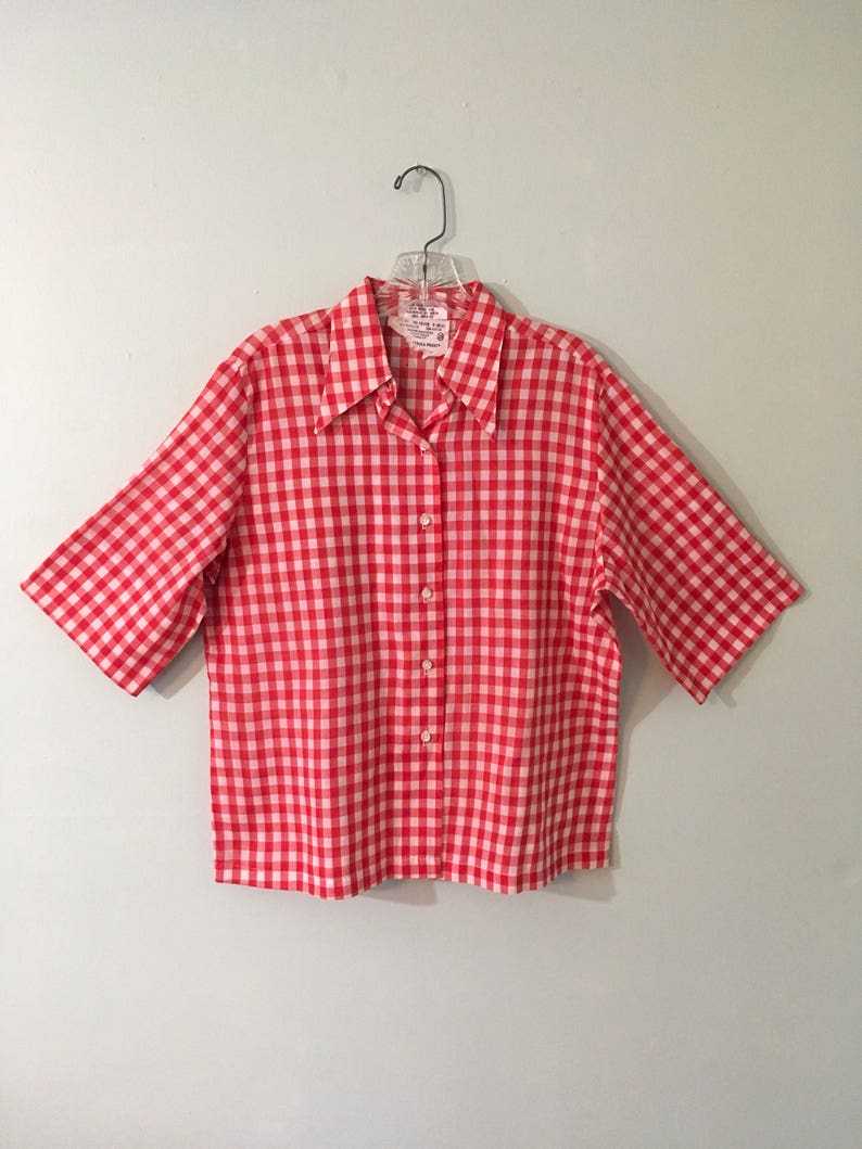 6110146c1ca Louise Cecil Costumes Plaid Shirt Womens Shirt Red and White