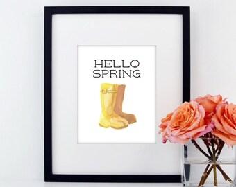 Hello Spring | Spring Decor | Hello Spring Print | Spring Sign | Hello Spring Sign | Spring Home Decor | Garden Print | Garden Prints