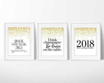 New Years Printable   Happy New Year   New Year Print   New Years Party   2018 Printable   New Years Eve Party   New Year's Printable   NYE