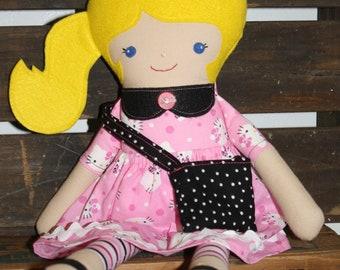 "Blond Ponytail Softie Doll/ Hello Kitty/Doll/19"""