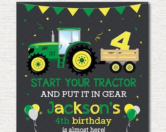 Tractor Birthday Invitation, Tractor Invite, Farmer Invitation, green, yellow, printable